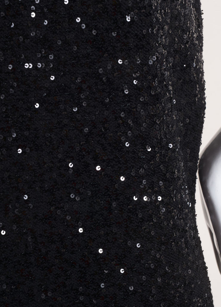 Yves Saint Laurent New With Tags Black Sequin Sleeveless Mini Knit Sweater Dress Detail