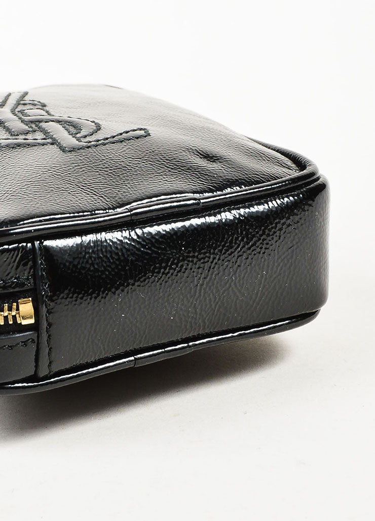 "Yves Saint Laurent Black Patent Leather Zip Around ""Belle de Jour"" Wristlet Bottom View"