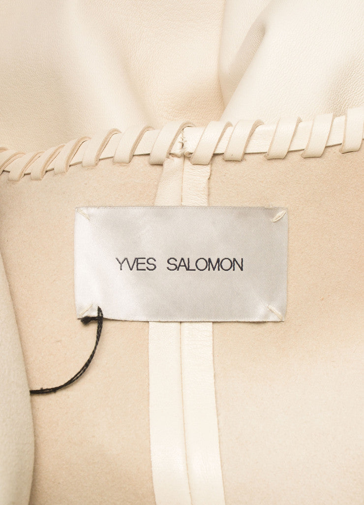 Yves Salomon New With Tags Cream Short Sleeve Open Lace Edged Leather Duster Jacket Brand