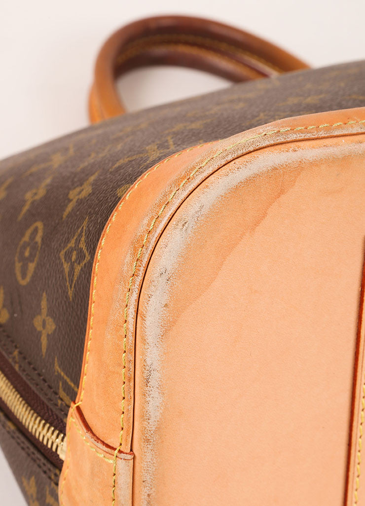 "Louis Vuitton Brown Monogram Canvas and Leather Zip ""Alma GM"" Bag Detail"