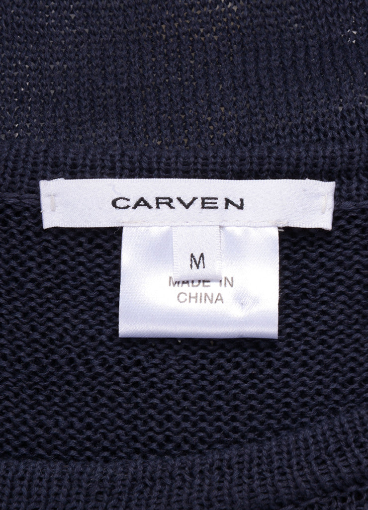 Navy Blue Carven Loose Open Knit Short Sleeve Cotton Sweater