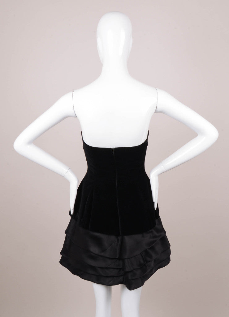 Black Velvet and Silk Organza Tiered Strapless Mini Dress