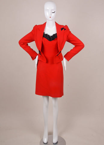 Red and Black Ruffle Trim Dress Suit