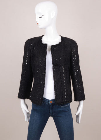 Black Metallic Sequin Fringe Woven Jacket