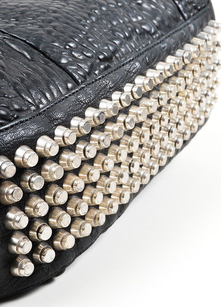 "Black Pebbled Leather Silver Toned Stud Alexander Wang ""Rocky"" Slouchy Handbag Bottom View"