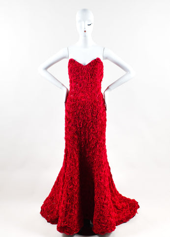 Anna Maier Red Chiffon Rosette Beaded Strapless Sweetheart Mermaid Gown Frontview