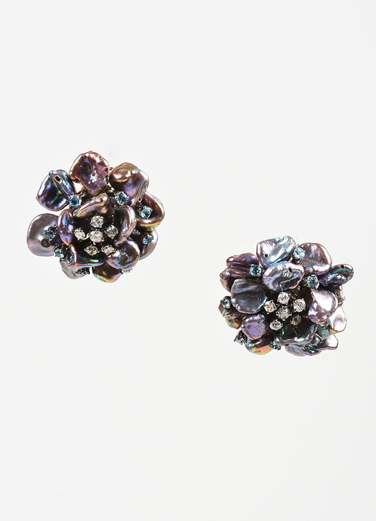 Black Pearl, Sapphire, Diamond, and 14K Gold Anuj Flower Post Earrings Frontview