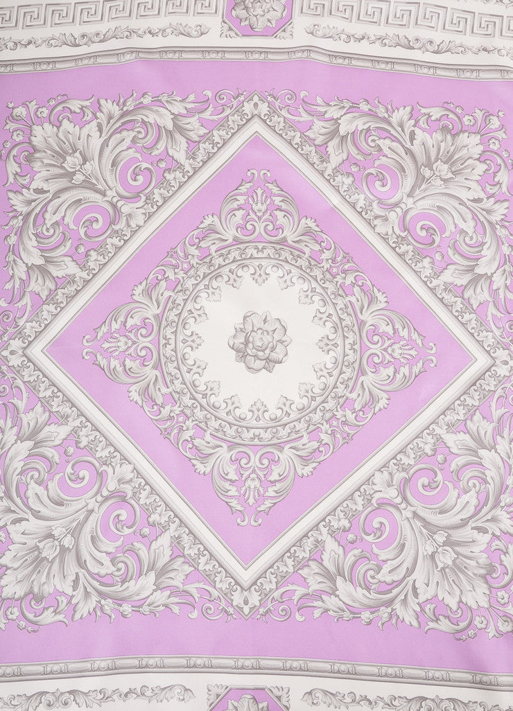 Atelier Versace Purple and Grey Frieze Border Print Silk Scarf Detail 2