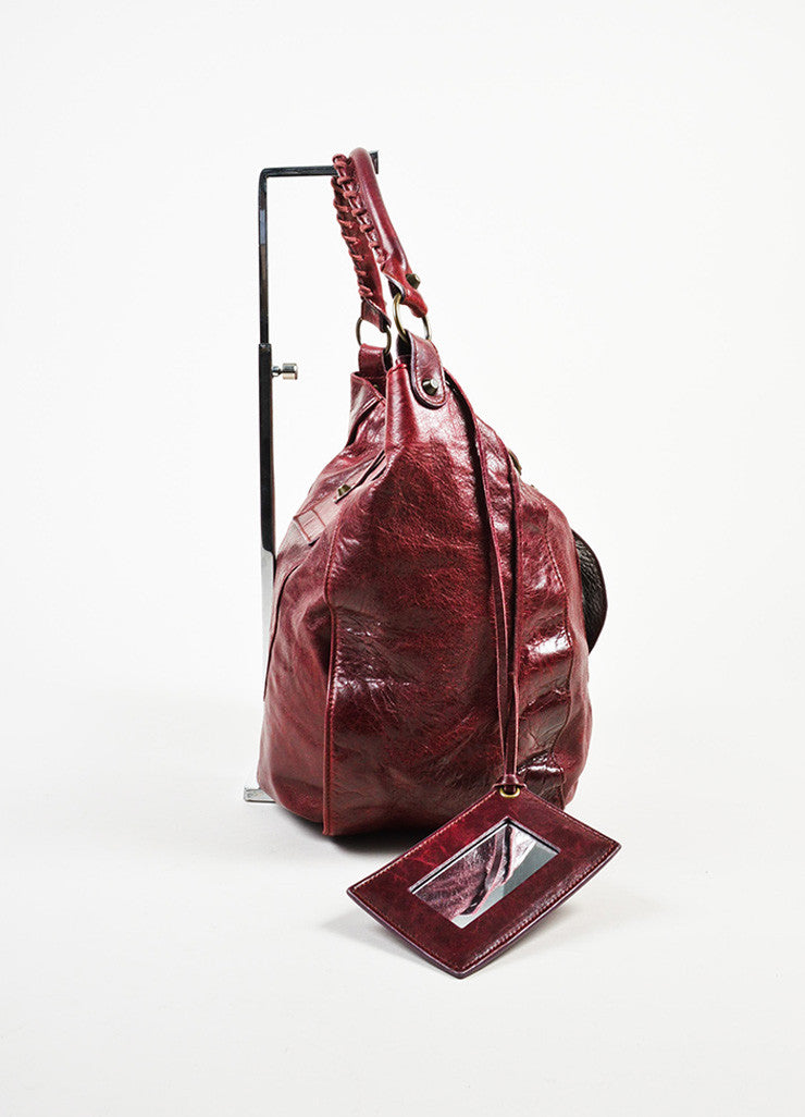 "Balenciaga Burgundy Leather ""Shrug"" Hobo Bag Sideview"