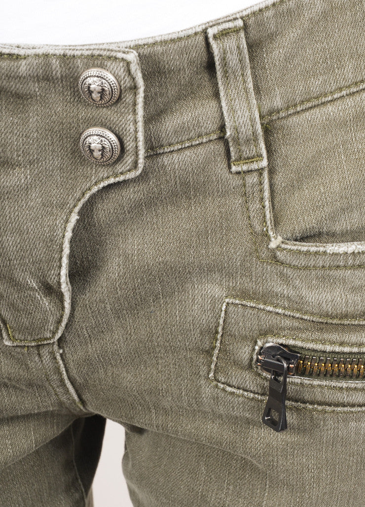 Balmain New With Tags Grey Denim Distressed Zip Moto Jeans Detail