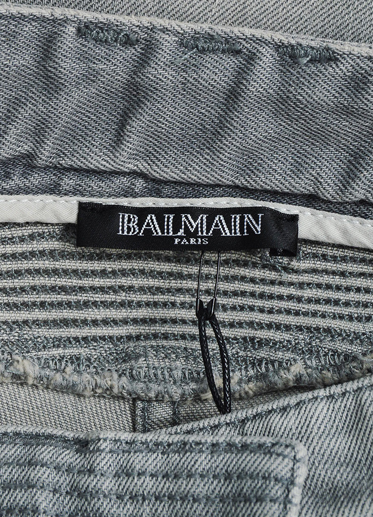 Light Grey Denim Balmain Moto Seamed Skinny Jeans Brand