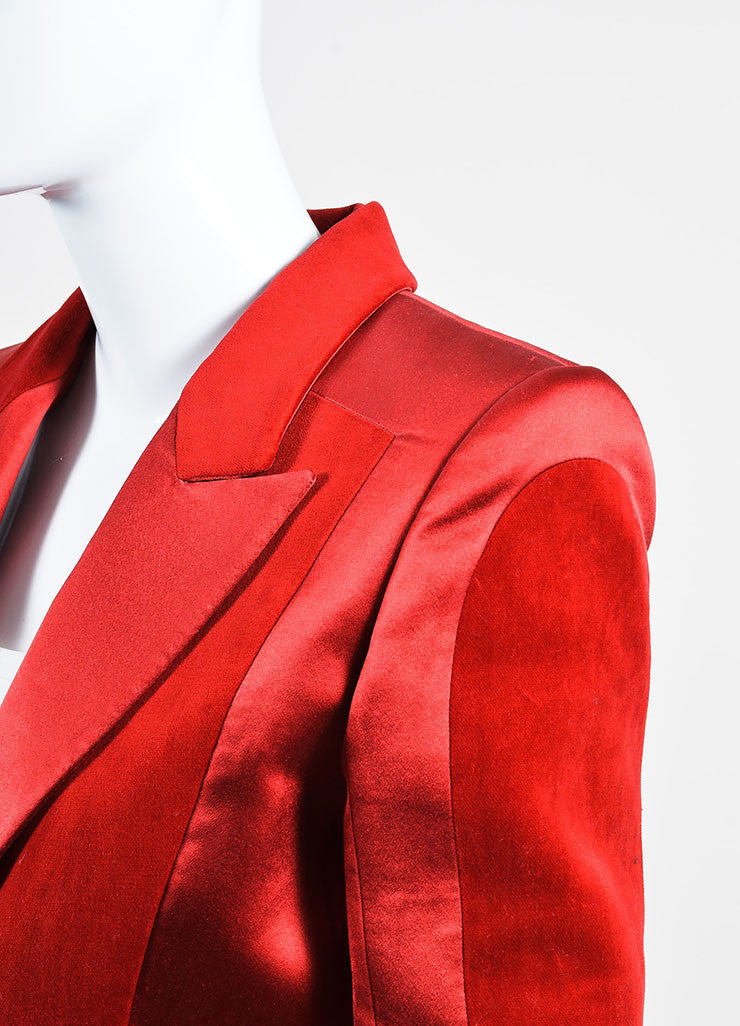 Red Balmain Silk Velvet Panel Long Sleeve Blazer Jacket Detail