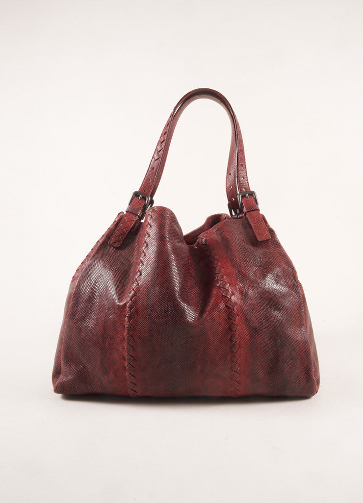 Bottega Veneta Dark Red Snakeskin Intrecciato Woven Trim Tote Bag Frontview
