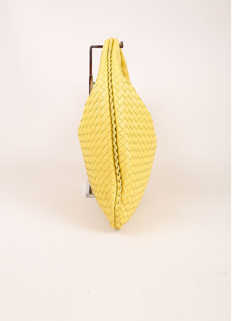 Bottega Veneta Yellow Leather Woven Hobo Shoulder Bag Sideview