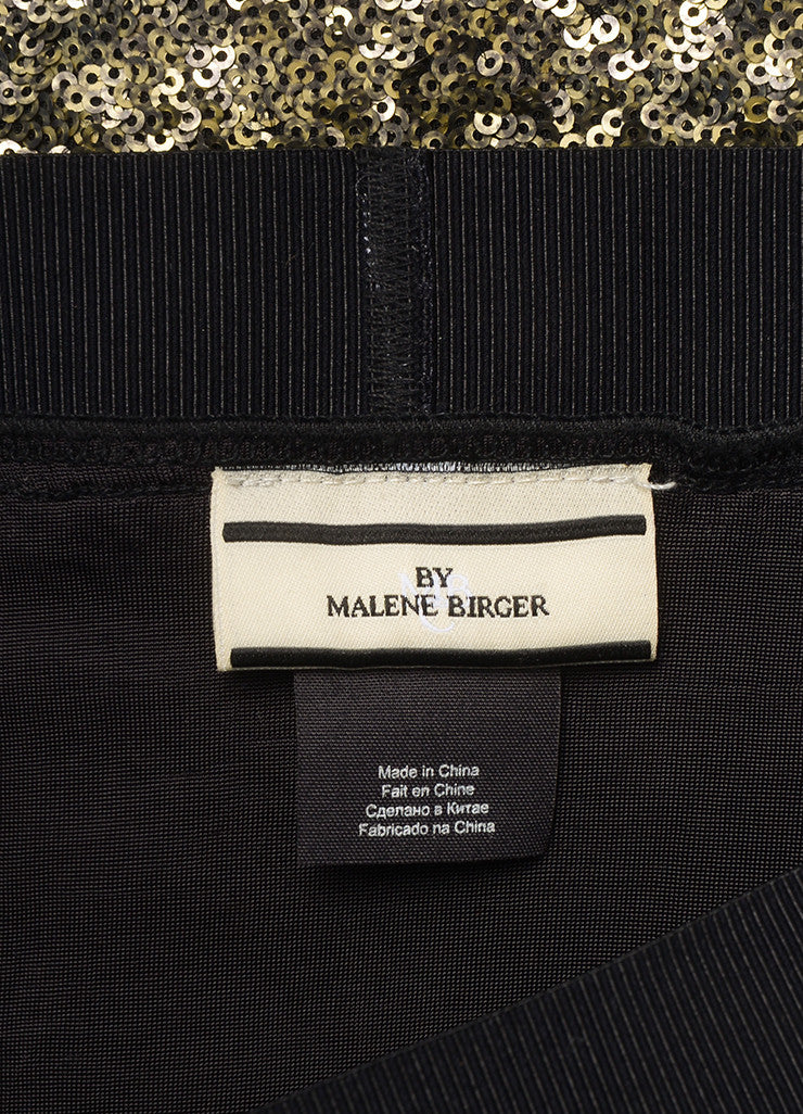 "By Malene Birger New With Tags Gold and Black Sequin Embellished ""Helic"" Skirt Brand"