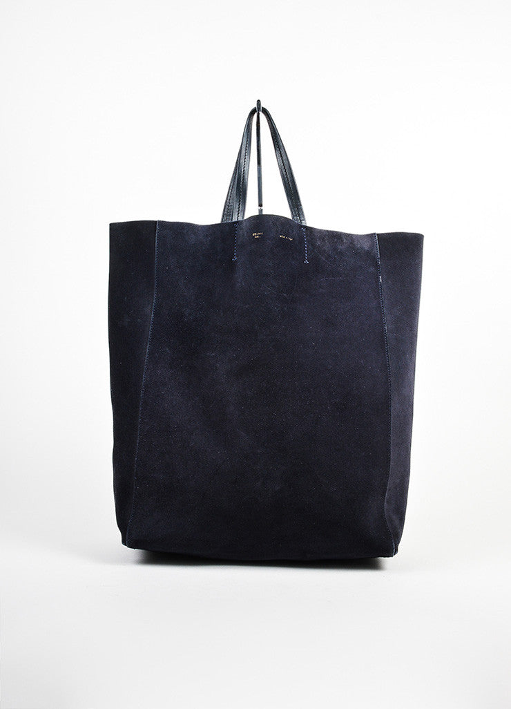 "Navy Blue and Black Celine Suede Leather ""Vertical Cabas"" Tote Bag Frontview"