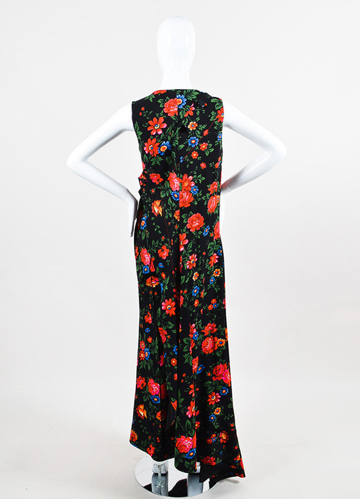 Celine Black and Multicolor Crepe Floral Draped Layered Pantsuit Backview