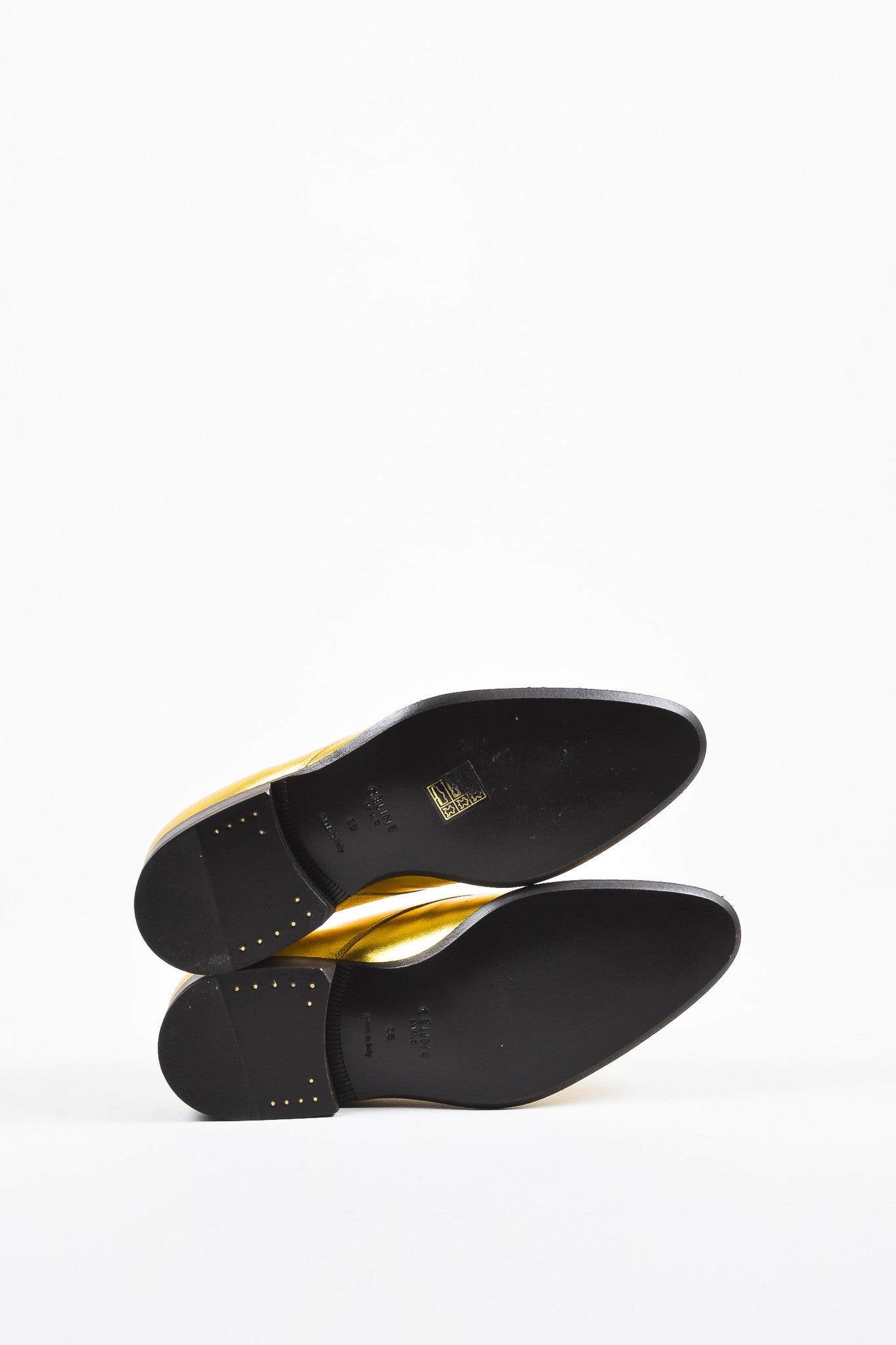 Celine Gold Metallic Leather Lace Up Oxfords Outsoles