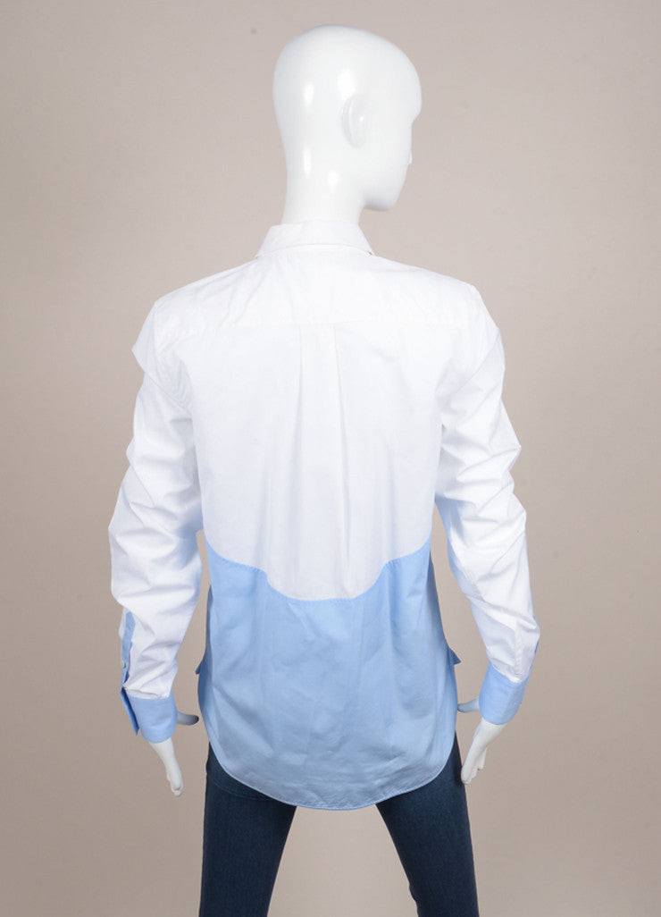 Celine White and French Blue Poplin Color Block Button Down Dress Shirt Backview