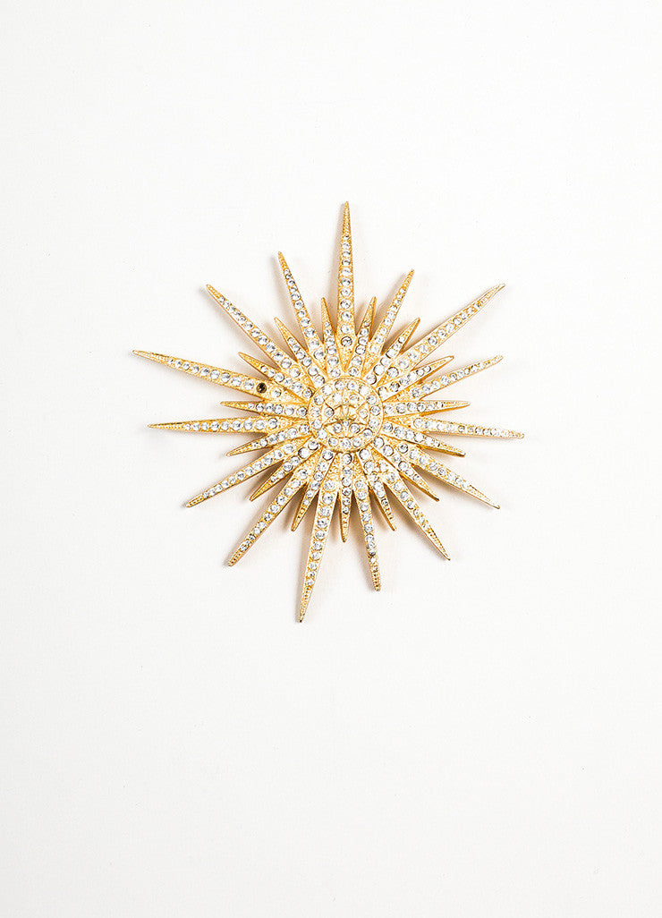 Gold Toned Chanel Rhinestone Crystal 'CC' Logo Spiked Starburst Pin Brooch Frontview