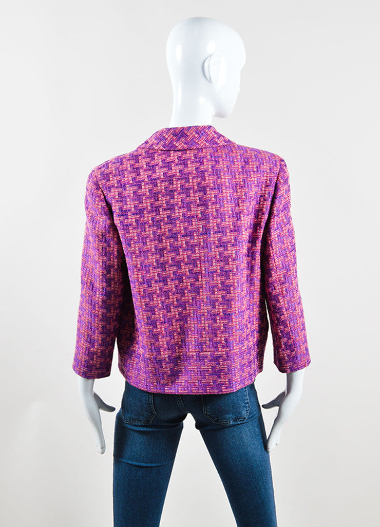 Chanel Purple and Pink Geometric Knit Jacket Backview