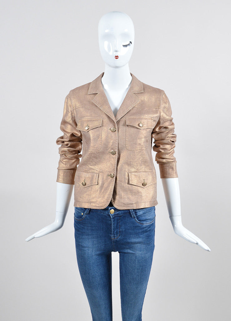 Metallic Gold Chanel Linen and Silk Button Up Jacket Frontview 2