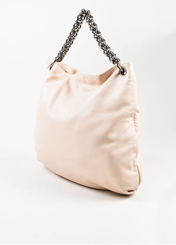 "Chanel ""Beige"" Cream Lambskin Leather Chain Handle 'CC' Stitch Hobo Bag Sideview"