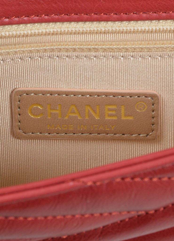 Red Leather Gold Toned Chanel Diagonal Stitched Reissue Flap Shoulder Bag Brand