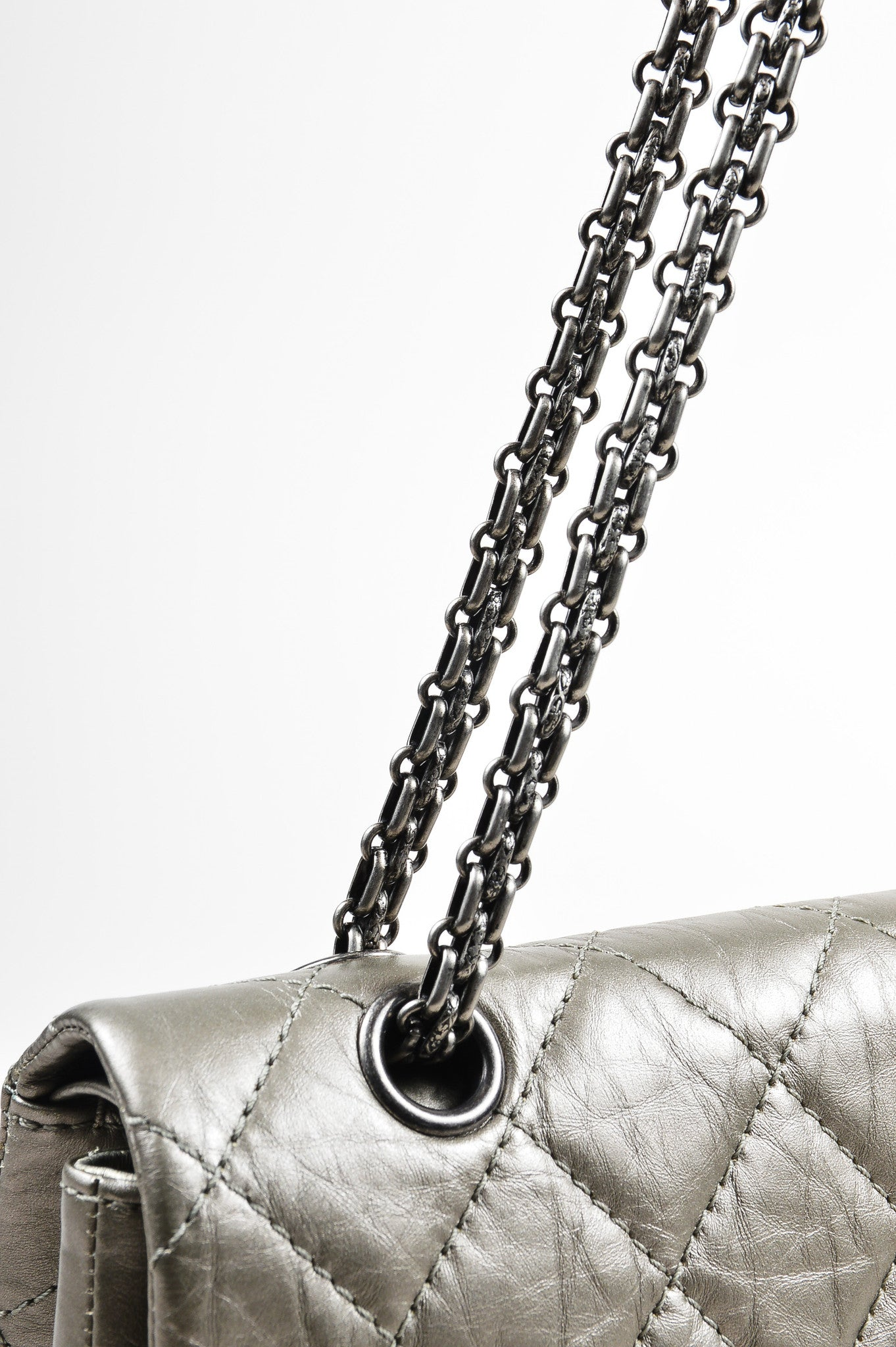 "Metallic Silver Leather Chanel ""2.55 Reissue 227"" Quilted Jumbo Flap Bag Detail 2"