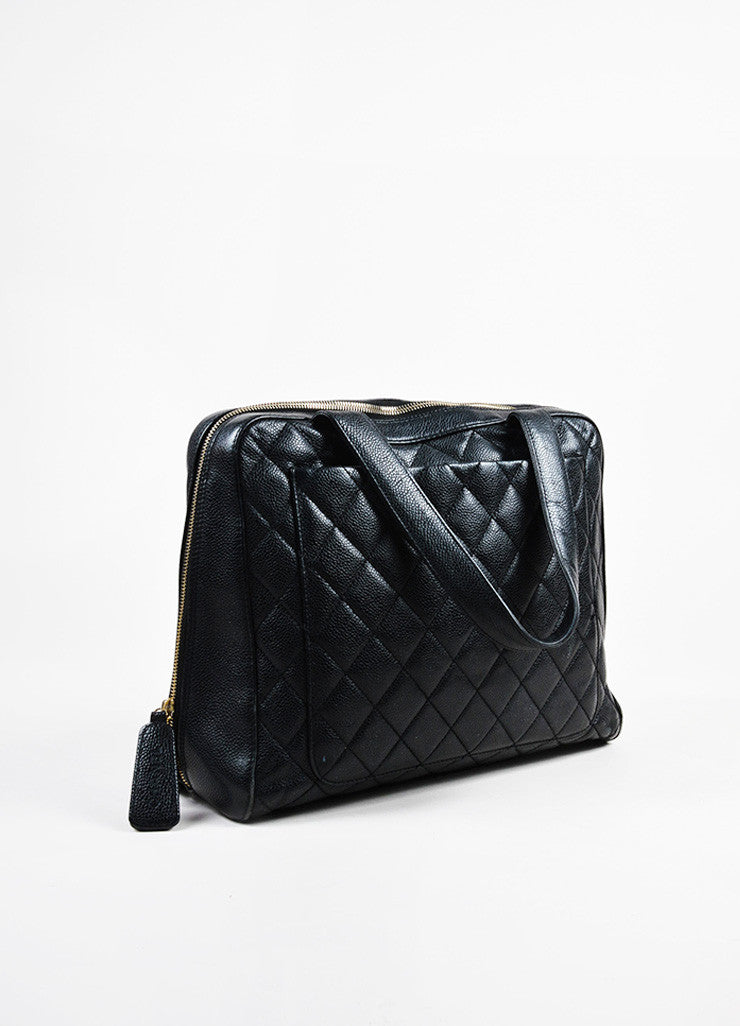 Chanel Black Quilted Caviar Leather Gold Toned 'CC' Zip Shoulder Bag Sideview