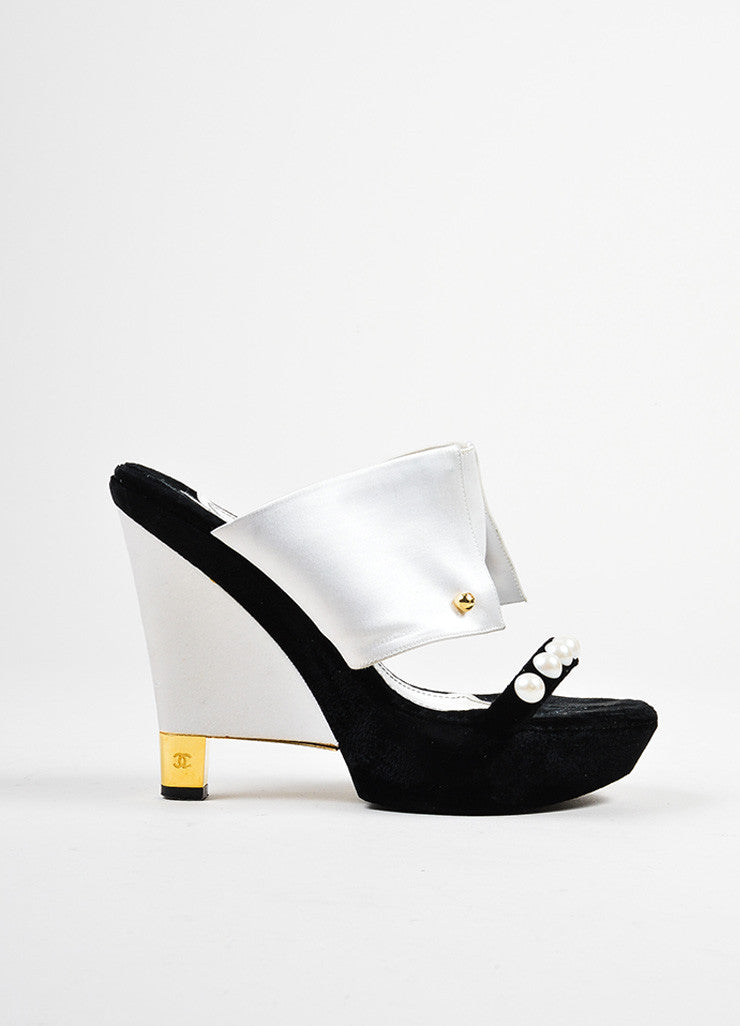 Black and White Chanel Satin and Velvet Faux Pearl Embellished Wedge Heel Mule Sandals Sideview