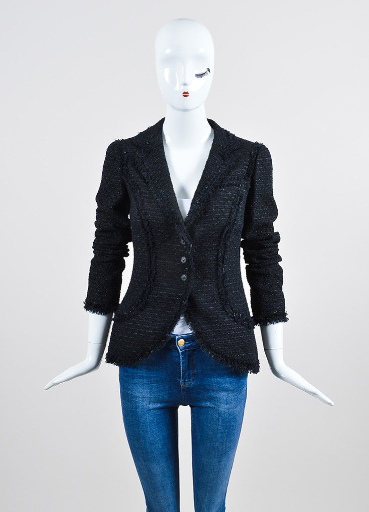 Black Chanel Woven Tweed Knit Fringe Trim Metallic Blazer Frontview 2