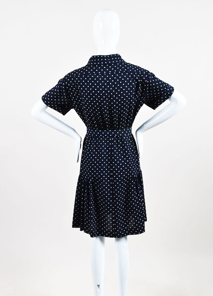 Chanel Navy and Beige Crepe Polka Dot Printed Short Sleeve Belted Shirt Dress Backview