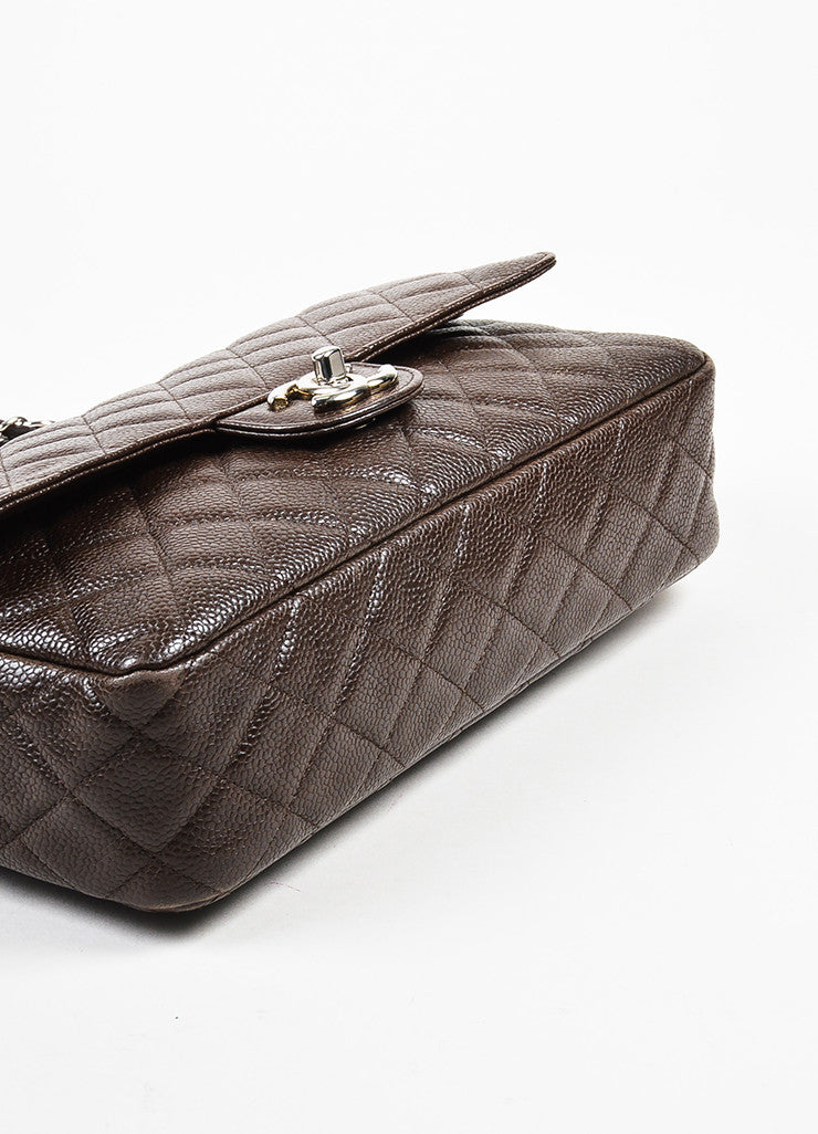 "Brown Chanel Quilted Caviar Leather ""Medium Double Flap"" Shoulder Bag Bottom View"