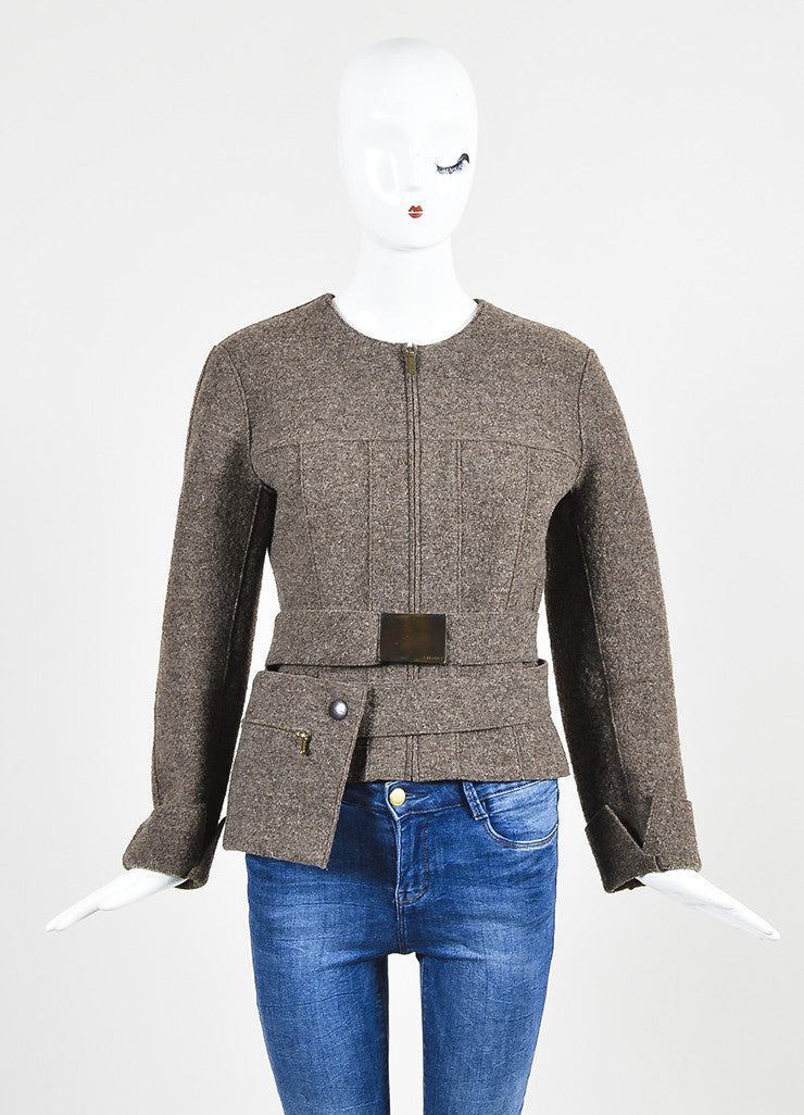Chanel Brown Wool Textured Cuffed Zipped Jacket with Belted Pouch Frontview 3