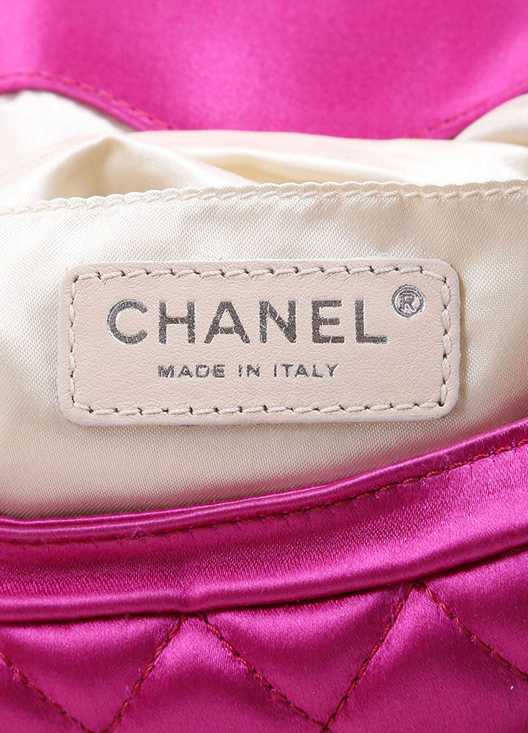 "Chanel Fuchsia Pink Satin Quilted ""CC"" Fold Over Half Moon Clutch Bag Brand"