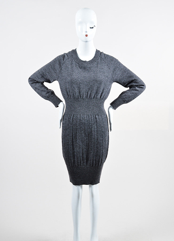 Grey and Black Chanel Wool Long Sleeve Rib Knit Sweater Dress Frontview