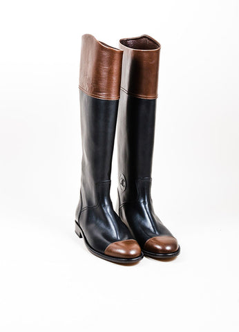 Black and Brown Chanel Leather Cap Toe Tall Riding Boots Frontview