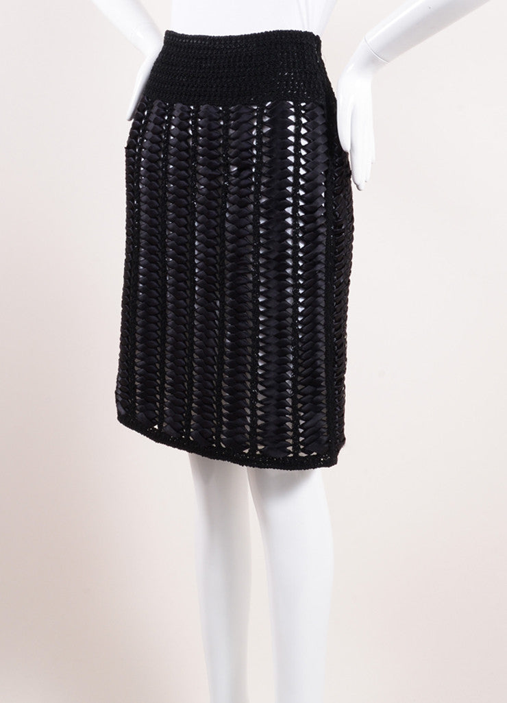 Chanel Black and White Woven Ribbon Crochet Knit Pencil Skirt Sideview