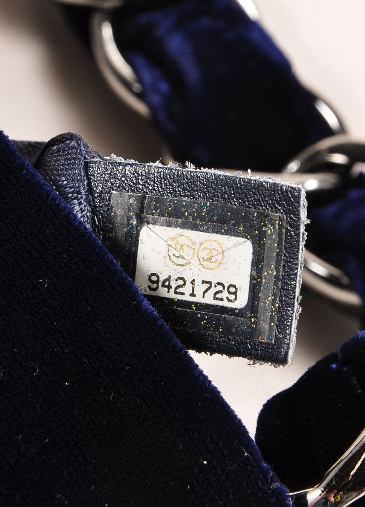 Chanel Navy Blue and Silver Toned Velvet Chain Strap Small Handbag Serial