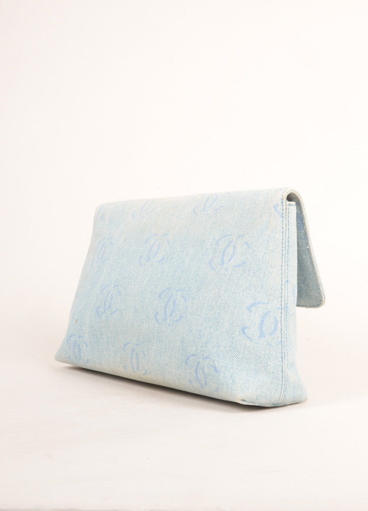 "Chanel Pale Blue Denim ""CC"" Logo Clutch Bag Sideview"
