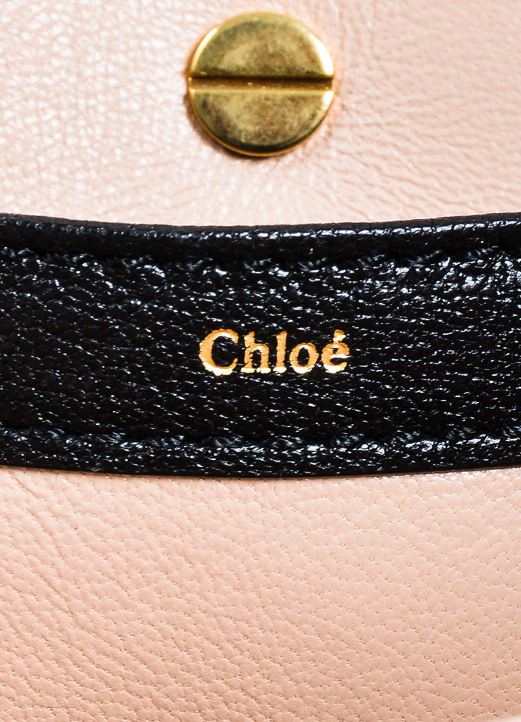 "Chloe ""Amelia"" Rose Pink Leather Gold Toned Flap Clutch Bag Brand"
