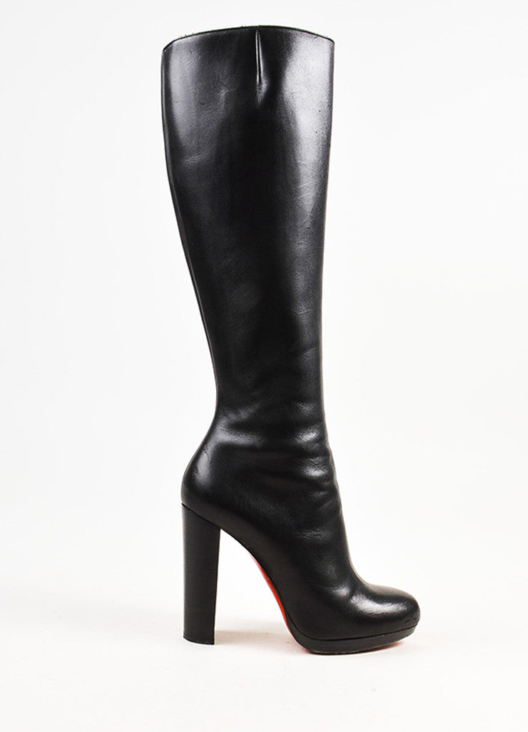 "Christian Louboutin Black Leather 120mm ""Mirabelle"" Platform Boots Sideview"