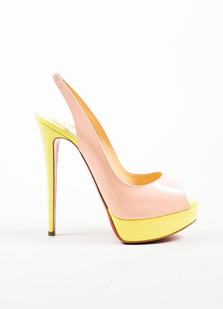 "Yellow and Pink Christian Louboutin Patent Leather ""Lady"" Platform Pumps Sideview"
