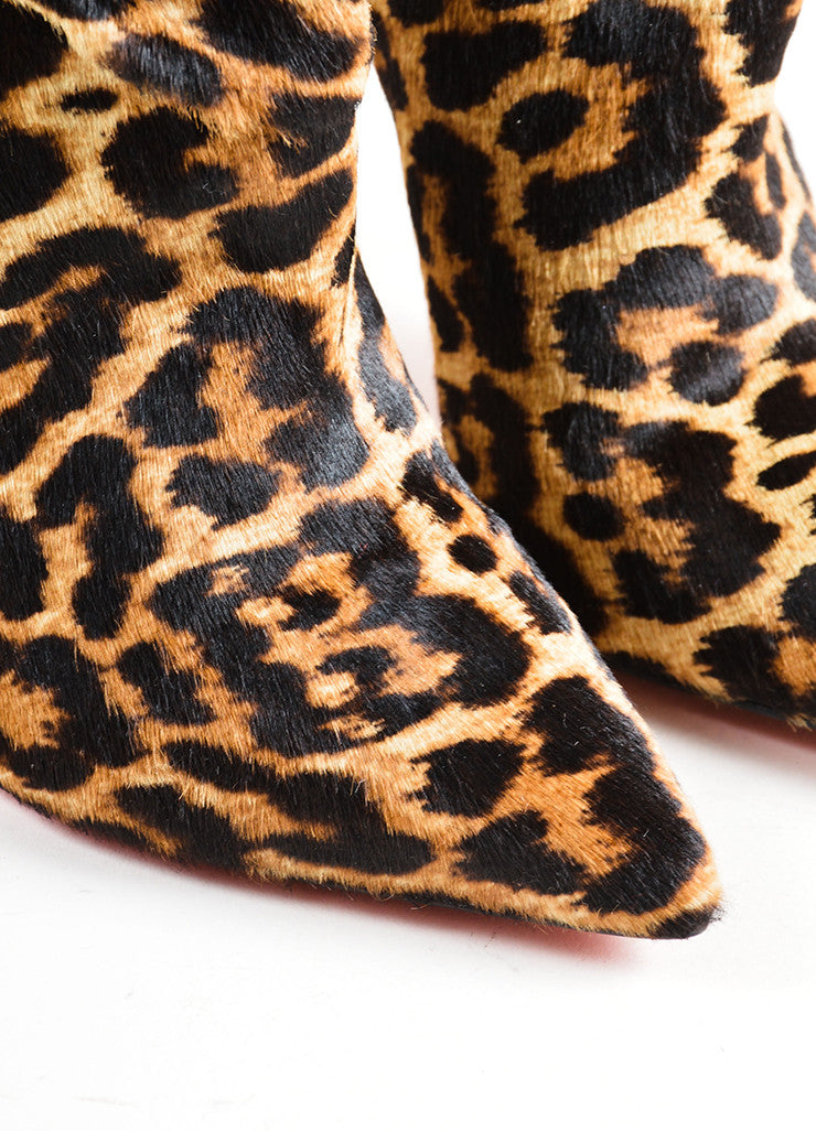 Christian Louboutin Tan Pony Hair Leopard Heeled Ankle Boots Detail