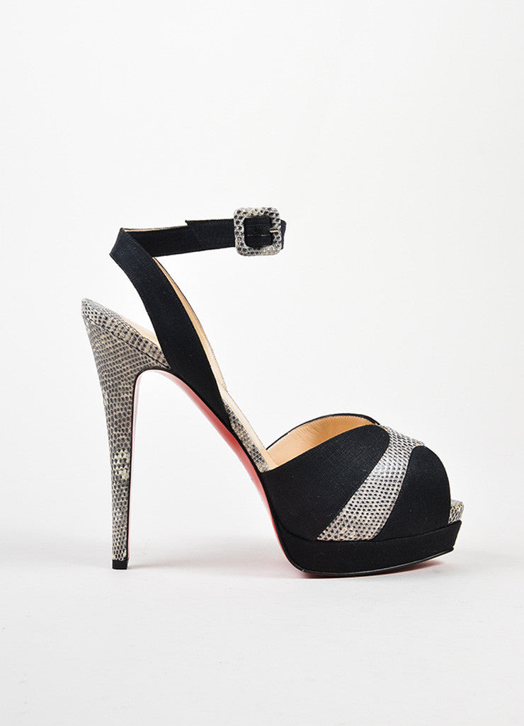 "Black Christian Louboutin ""Double Moc 140"" Sandals Side"