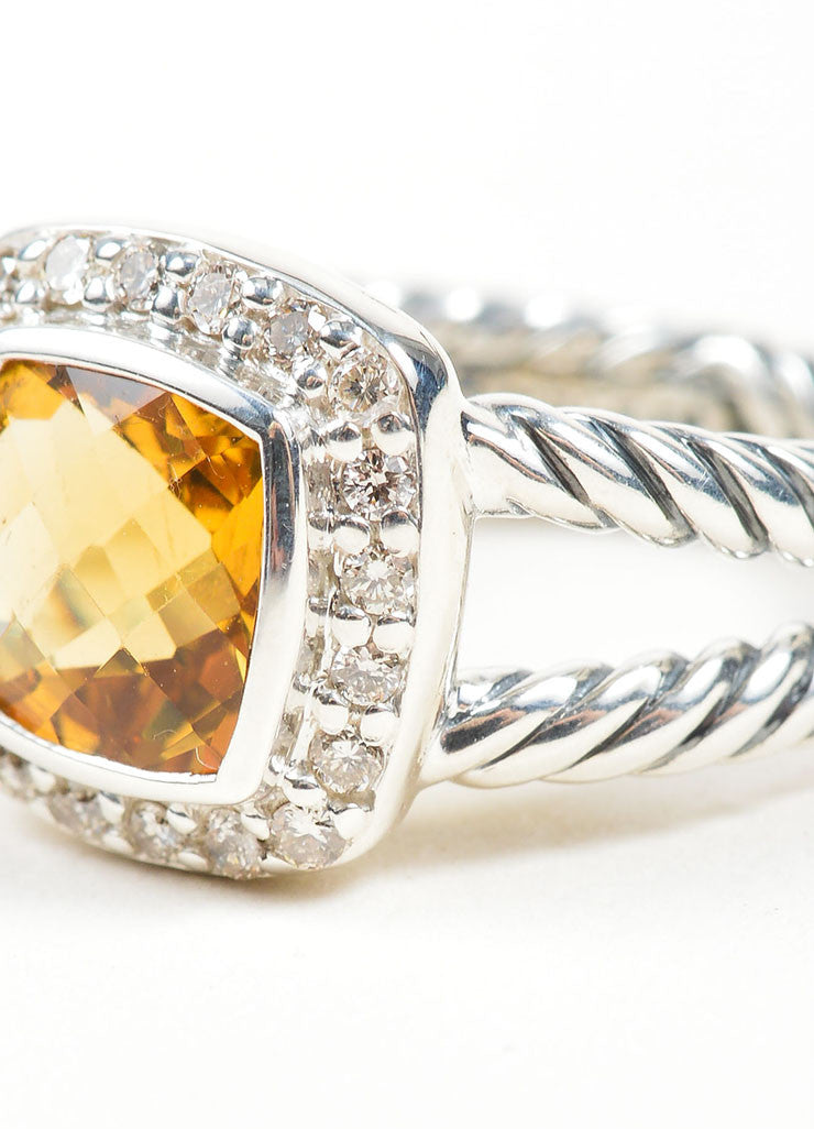 "Stering Silver, Citrine, and Diamond David Yurman ""Petite Albion"" Ring Detail"