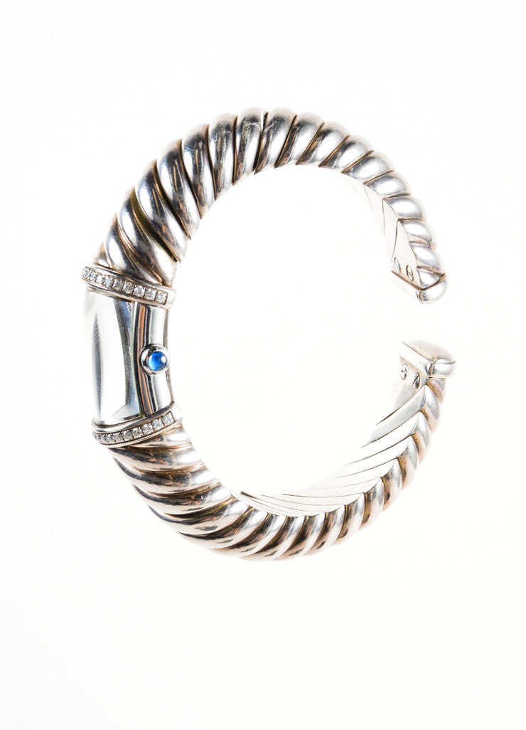 "David Yurman Sterling Silver and Diamond Pave Cable Cuff ""T209 M"" ""Waverly"" Watch Sideview"