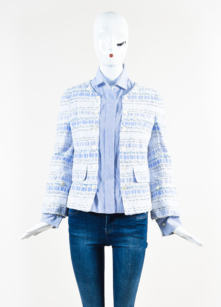 Dolce & Gabbana Blue and White Poplin Removable Tweed Long Sleeve Shirt Jacket Frontview 2