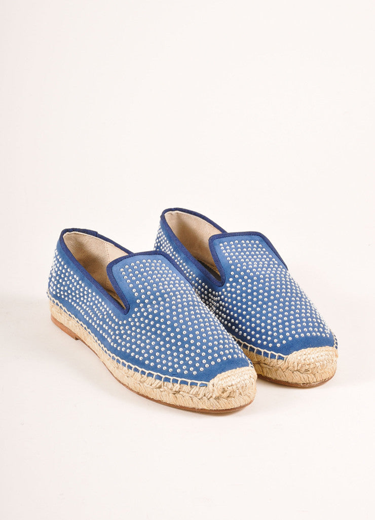 Elyse Walker New In Box Blue Suede and Silver Toned Studded Espadrille Flats Frontview